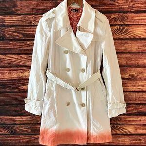 TAIKONHU White Orange Peacoat Coat Jacket Sz 10